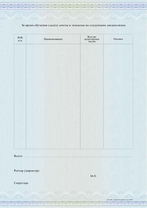 Приложение к диплому о профессиональной переподготовке А  Приложение к диплому о профессиональной переподготовке А4 установленного образца